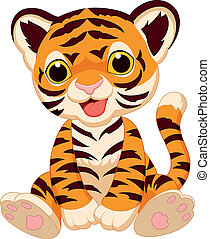 tiger, 漂亮, 卡通