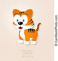 tiger, 黄道帯, セット, 中国語, 年