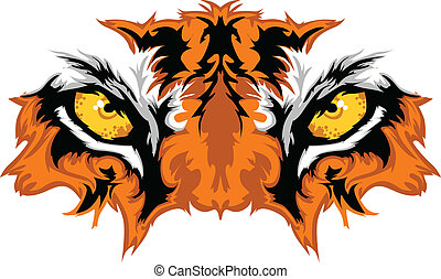tiger, 눈, 마스코트, 문자로 쓰는