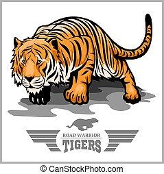 tiger, aanval, -, sportende, mascotte, stijl