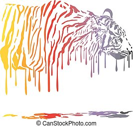 Tiger, abstract color painting