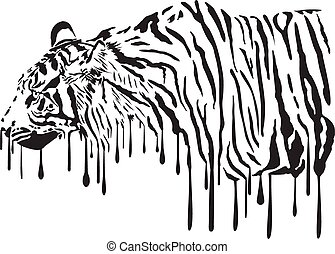 Tiger, abstract painting
