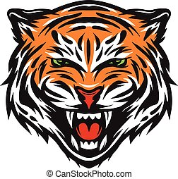 tiger, agresszív, face.