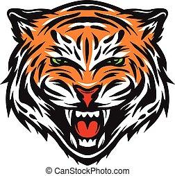 tiger, agresywny, face.