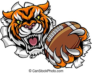 Tiger American Football Ball Breaking Background