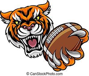 tiger, amerikaan voetbal, vasthoudende bal