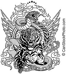 tiger and snake. Road design. Black and white template