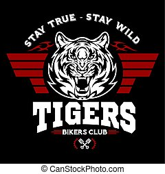 Tiger and Wings - logo graphic design. logo, Sticker, label, arm, motor sport.