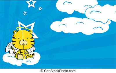 tiger angel cartoon background