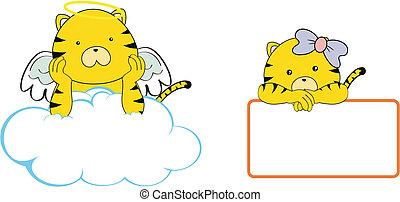 tiger angel cartoon copyspace