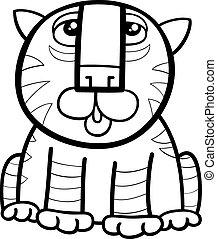 tiger animal cartoon coloring page