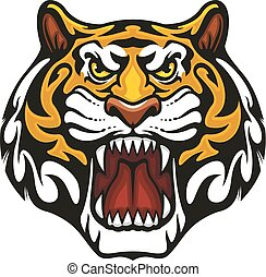 Tiger animal muzzle vector sport team mascot icon