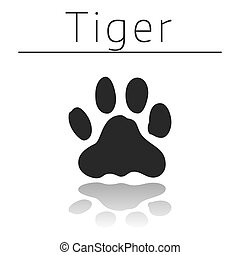 Tiger animal track with name and reflection on white ...
