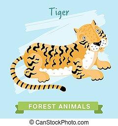 tiger, animals., las, wektor