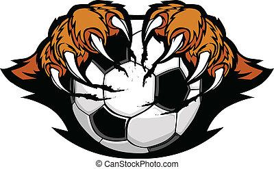 tiger, artigli, palla calcio, vettore