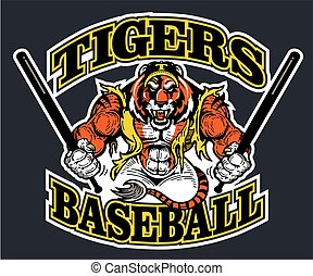 tiger baseball team design with muscular mascot for school,...