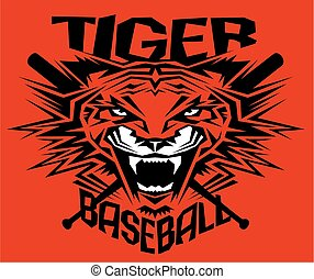 tiger baseball - tribal tiger baseball team design with...