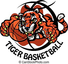 tiger basketball team design with tiger mascot inside...