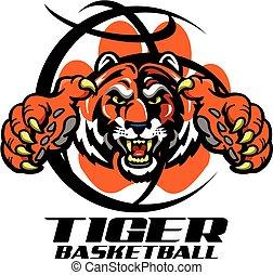 tiger basketball team design with mascot inside a basketball...