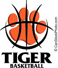 tiger basketball team design with large paw print inside...