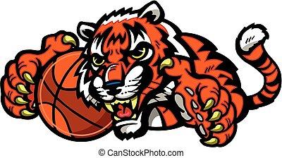 tiger basketball mascot holding a basketball