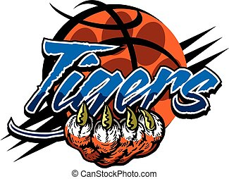 tiger basketball team design with mascot inside a basketball