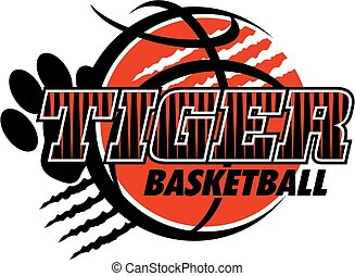 tiger basketball team design with paw print and ripped ball...
