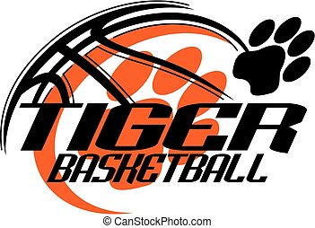 tiger basketball team design with paw print for school, ...