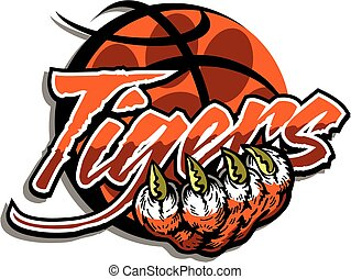 tiger basketball team design with paw print inside a...