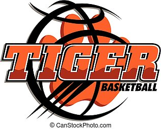 tiger basketball team design with paw print inside basketball