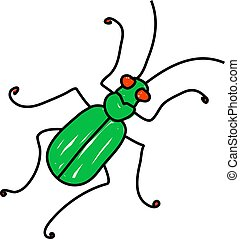 tiger beetle insect isolated on white drawn in toddler art...