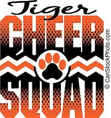 tiger, beifallsruf, gruppe