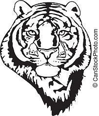 Tiger - Black and white vector image of a tiger head
