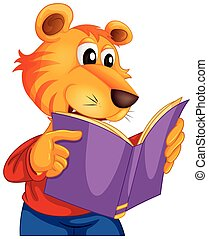 tiger, boek, lezende