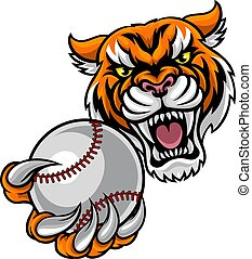 tiger, bold, baseball, holde, mascot