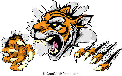 tiger, boos, sporten, mascotte
