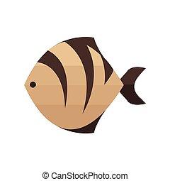 tiger, brązowy, fish