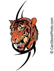 tiger, capstrzyk, plemienny, wektor, ilustracja
