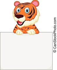 tiger, carino, cartone animato, presa a terra, segno