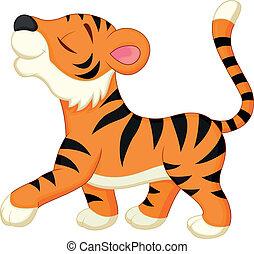 tiger, cartone animato, carino