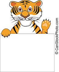 tiger, cartone animato, segno, vuoto