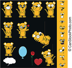 tiger cartoon set1 - tiger cartoon set in vector format