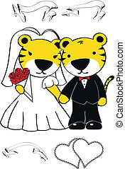 tiger cartoon wedding set