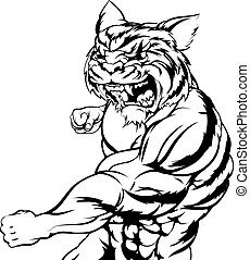 Tiger character punching