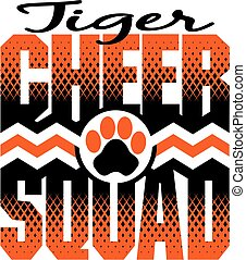 tiger cheer squad team design with chevrons and paw print...