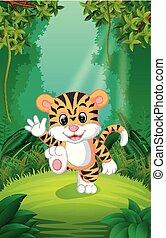 tiger, chiaro, foresta verde