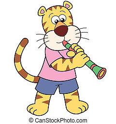 tiger, clarinete, caricatura, tocando