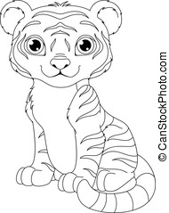 Tiger Coloring Page - Tiger cub sits on white background