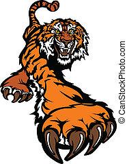 tiger, corpo, mascotte, grafico, vagando cerca preda