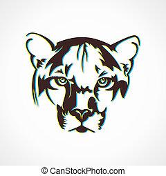 tiger, criativo, desenho, rosto